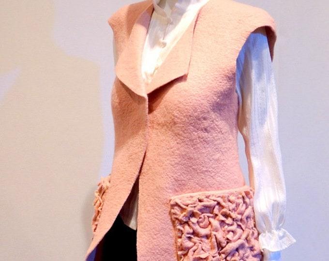 Gilet en laine mérinos feutrée Rose Poudrée, doux, chaud et fashion