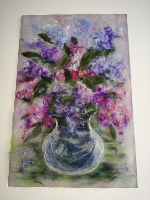 "Painting made of watercolour wool ""Bouquet de Lilas"""
