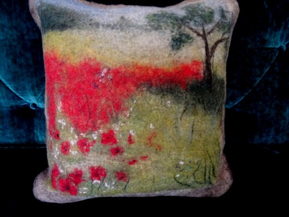Decorative cushion in felted wool.  Poppy field