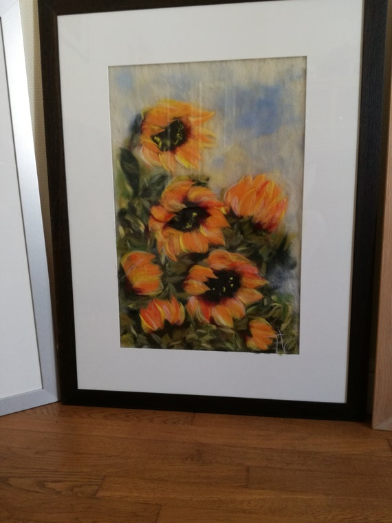 "Painting made of watercolor wool ""Sunflowers"""
