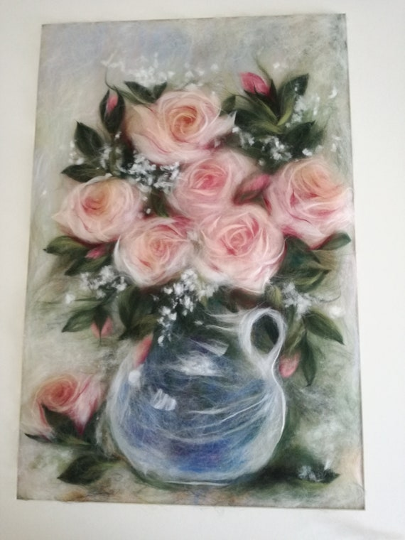 "Painting made of watercolour wool ""Bouquet of Roses"""