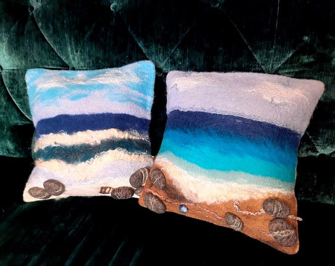 """Lot of 2 cushions of merino wool cushions felted """"Dreams of the Sea"""""""