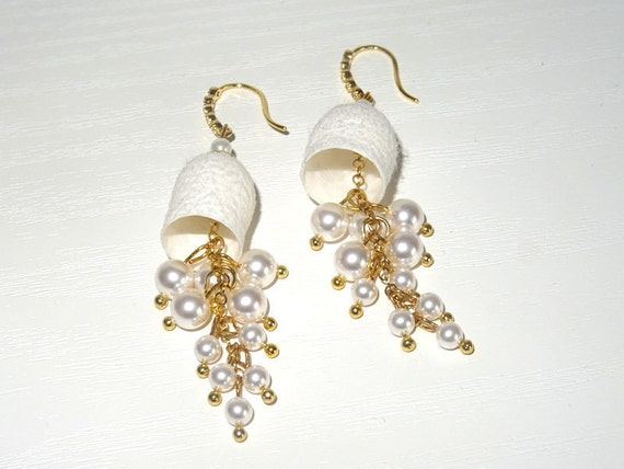Earrings cocoon silkworm with artificial beads.