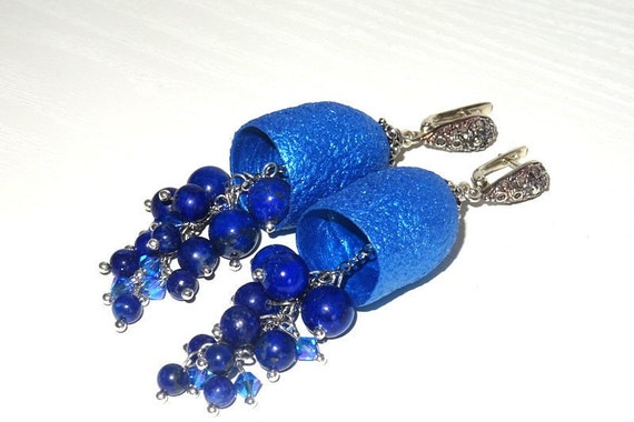 Silkworm cocoon earrings with natural Lapis Lazuli stones and Swarovski glass beads