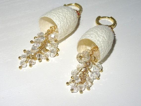 Silkworm cocoon earrings with Swarovski glass beads.