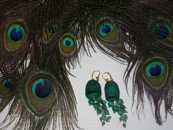 Earrings cocoon silkworm with natural Malachite stones.