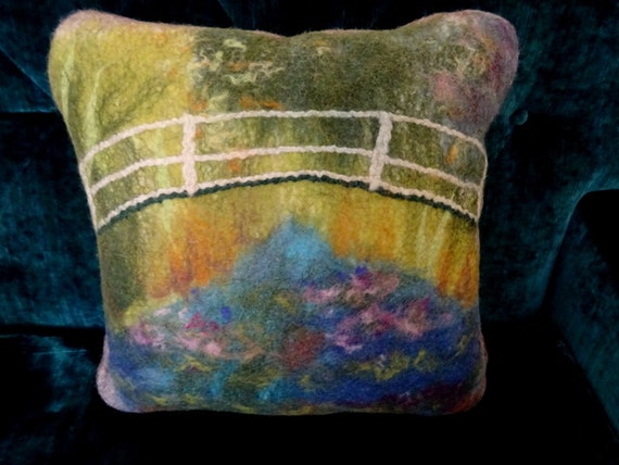 """Decorative cushion in felted wool. Claude Monet/Reproduction of the painting """"Japanese Garden"""""""