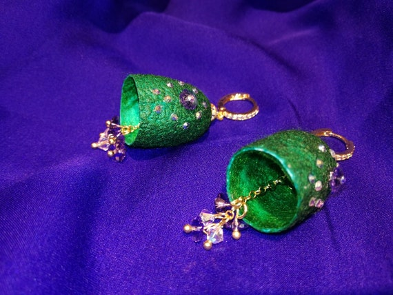 Silkworm cocoon earrings with Swarovski glass beads.
