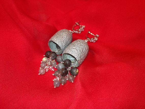 Silkworm cocoon earrings with Natural Labradorite stones and Swarovski glass beads