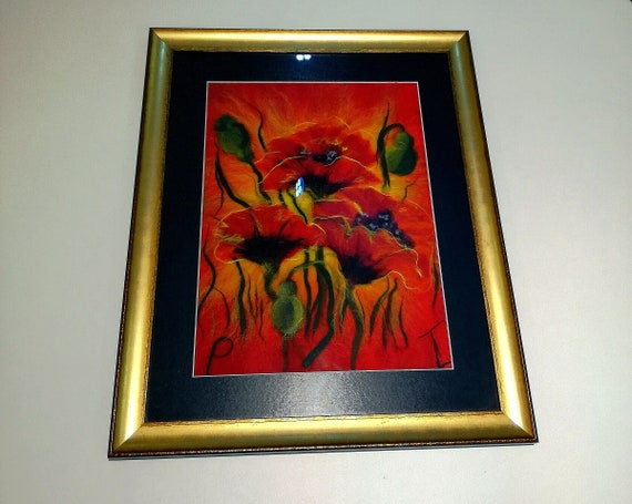 """Painting made of watercolor wool """"Coquelicots"""""""