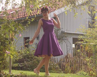 Purple Violet Dress Circle Skirt 50s inspired Pinup Midcentury Handmade