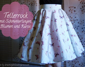 Butterfly Circle Skirt Novelty Print 50s inspired Pinup Midcentury Handmade