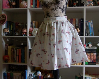 Butterfly Swing Gathered Skirt 50s Fifties Midcentury White Flared Handmade 60s