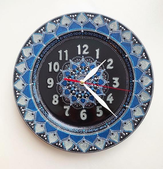Hand painted clocks with mandala/ wall clocks / clock art / Interior clocks/ Fashion clocks / ceramic clocks for wall