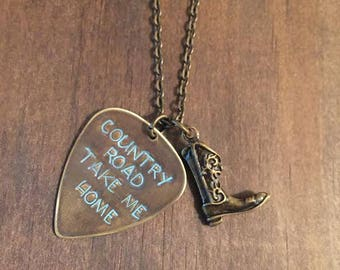 Country Road Take Me Home Guitar Pick Necklace w/Boot Charm, Hand Stamped Pick, Antique Brass Guitar Pick, Country Jewelry, Guitar Pick