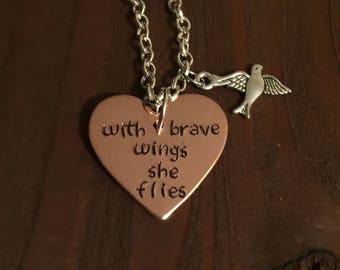 With Brave Wings She Flies Necklace- Hand Stamped Jewelry- Inspiration Necklace- Graduation Gift- Gifts For Her- Daughter Gift