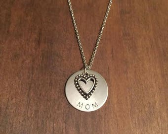 Mom Hand Stamped Necklace- Mothers Day Necklace- Mothers Day Jewelry- Gifts For Mom- New Mom Gift- Mom and Heart Necklace- Stainless Steel