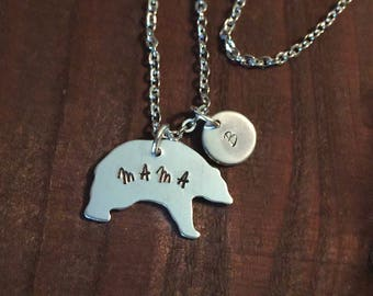 Personalized Initial Mama Bear Necklace- Hand Stamped Jewelry- Mama Bear Necklace- Initial Jewelry- Gifts for Her- Aluminum Necklace