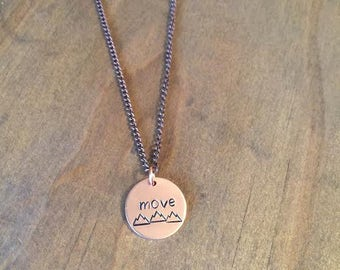 Move Mountains Necklace- Motivation Necklace- Move Mountains Jewelry- Copper Jewelry- Gifts for Her- Daughter Gift- Graduation Gift