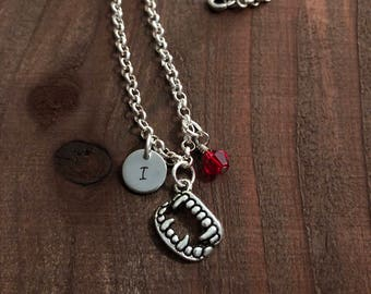 Dracula Necklace• Personalized Initial Halloween Necklace• Vampire Teeth Initial Jewelry• Halloween Jewelry• Kids Jewelry• Vampire Jewelry
