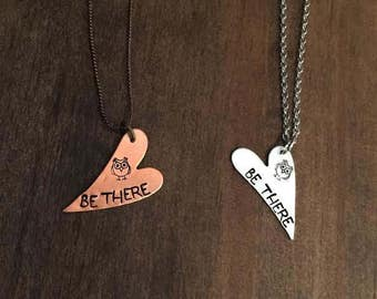 Owl Be There Necklace, Silver/Copper Owl Necklace, Owl Jewelry, Hand Stamped Owl Be There Necklace, Friends Necklace, Sibling Necklace