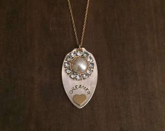 Dreamer Vintage Spoon Necklace- Dreamer Upcycle Necklace- Hand Stamped Jewelry- Rhinestone Spoon Necklace- Gifts for Her- Dreamer Spoon