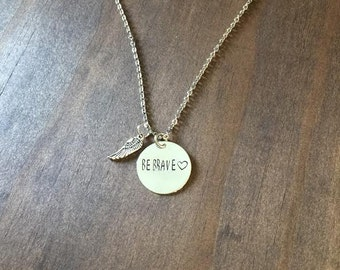Be Brave Necklace with Angel Wing, Valentines Gift, Hand Stamped Be Brave Necklace, Girlfriend or Wife Gift, Hand Stamped Jewelry