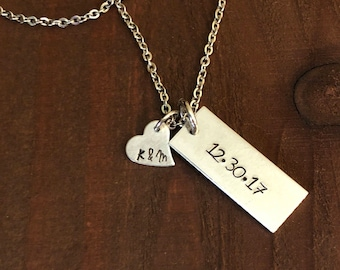 Personalized Initial and Date Necklace- Personalized Hand Stamped Jewelry- Wedding Jewelry- Gifts for Her- Anniversary Jewelry-