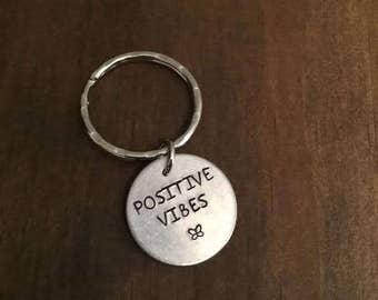 Positive Vibes Keychain- Motivation Keyring- Aluminum Key Ring