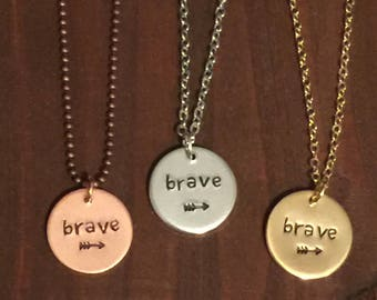 Brave Necklace- Copper Brave Necklace- Brave Jewelry- Silver Brave Necklace- Gold Brave Necklace-Gifts for Her- Motivation Jewelry-