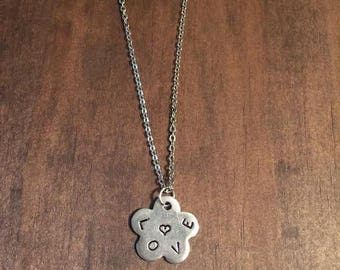 Love Hand Stamped Flower Necklace, Silver Pewter Flower Love Necklace, Flower Jewelry, Gifts for Her, Mother Daughter Jewelry, Love Jewelry