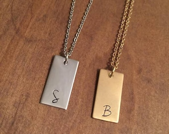 Personalized Hand Stamped Bars- Hand Stamped Initials- Bar Necklace- Rectangle Initial Necklace- Personalized Gifts- Initial Jewelry- Gift