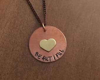 Beautiful Hand Stamped Necklace- Heart Jewelry- Copper and Gold Beautiful Necklace- Hand Stamped Jewelry- Womens Jewelry- Gifts for Her