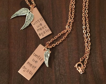 Remembrance Necklace- Angel Wing Necklace- Loss of a Loved One Jewelry- Until We Meet Again Necklace- Copper Jewelry- Memorial Jewelry