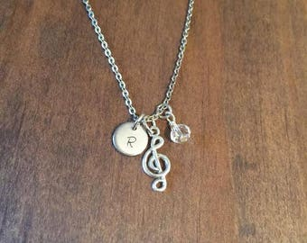 Treble Clef Initial Neckace- Treble Clef Birthstone Jewelry- Initial and Birthstone Music Jewelry- Hand Stamped Jewelry- Music Necklace