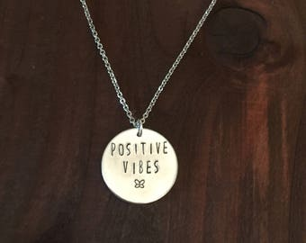 Positive Vibes Necklace, Hand Stamped Positive Vibes Necklace, Hand Stamped Jewelry, Motivation Jewelry, Motivation Necklace, Gifts for Her