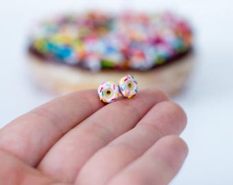 Pink Donut Stud Earrings - Handmade Polymer Clay