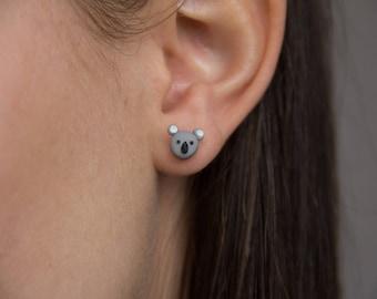Koala Stud Earrings - Handmade Polymer Clay