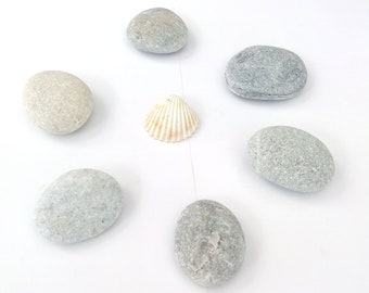 6 Medium egg stones Oval pebbles Mandala stones for painting Decoupage stones Smooth gray pebbles Round beach rocks 2 inches - 2.5 inches