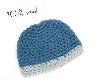 Baby shower eco gift Wool baby wear Petrol blue Aquamarine beanie Winter  toque Hand crocheted clothing Chunky baby clothing eco CHOOSE SIZE 73c50f0f8310