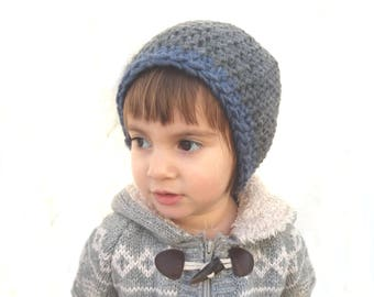 Eco friendly hat for children Warm wool beanie Gray blue toque Striped cap Chunky soft hat Kids winter gift Hand crocheted by The Eco Path
