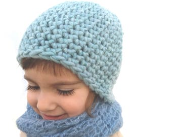Aquamarine beanie Chunky cap Soft wool hat Eco friendly toque Casual wear  Winter ski hat Childrens gift under 25 hat CHOOSE SIZE 2408c10d5197