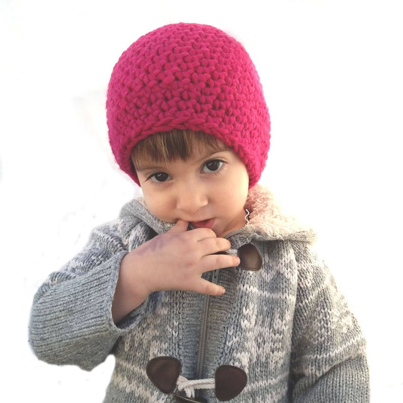 Hot pink   bordeaux hat Wool beanie for children gift Striped  12bf7d916a3e