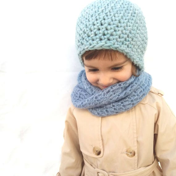 Eco children gift Hat and scarf set Virgin wool beanie  a62b1f03f5d6