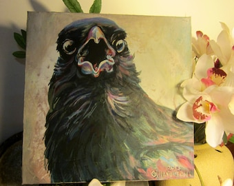 Original Acrylic Painting of a Crow on Canvas Titled:-  'Alarm'