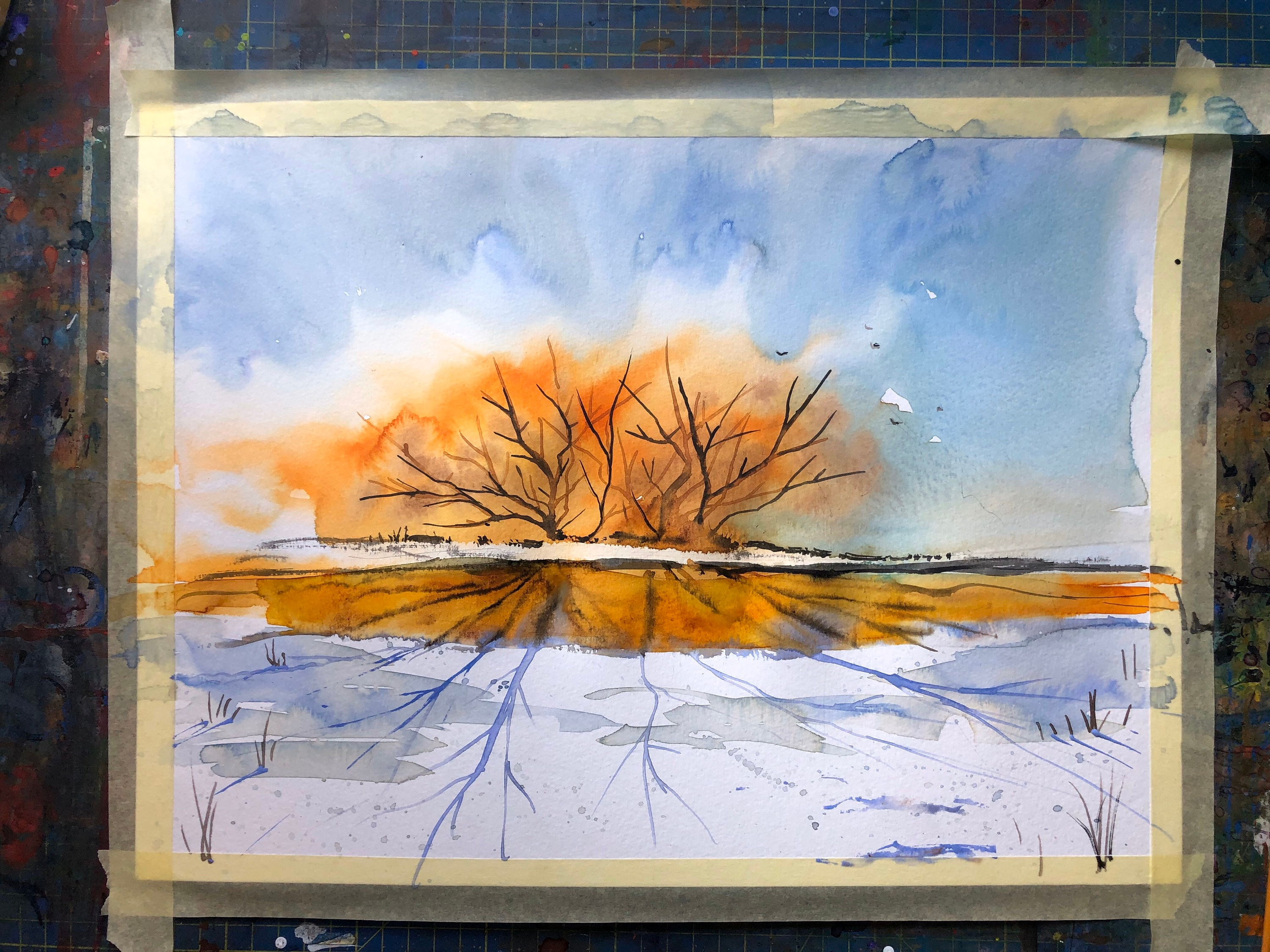 Winter Sunset Watercolor Original Painting Rustic Home Decor Wall Hanging Bob Ross Style Landscape Paintings Decor Gift For Her