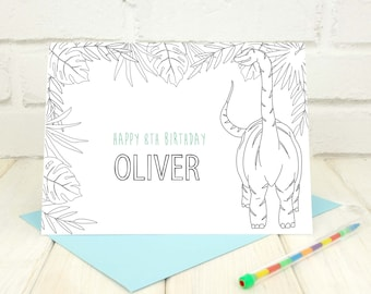 Dinosaur Colouring In Card - T Rex Birthday Card - Dinosaur Birthday Party - Jurassic Park Card - Birthday Card for Boys - Birthday Party
