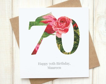 70th Birthday Card - Birthday Card for Her - Floral Birthday Card - Botanical Greetings Card - Grandma Birthday Card - Milestone Birthday