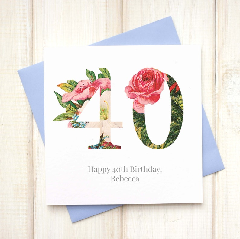 40th Birthday Card For Her Floral
