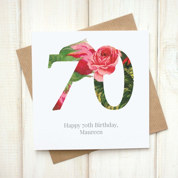 70th Birthday Card For Her Floral